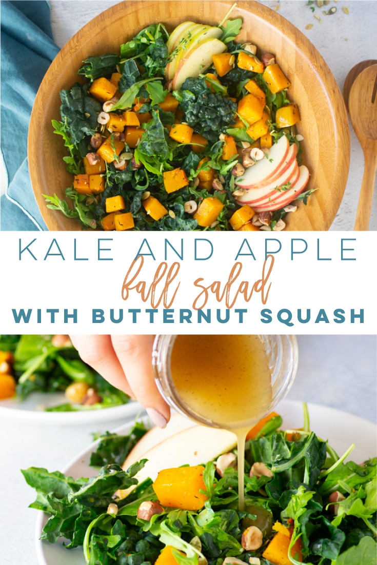 Kale Apple Salad -- This healthy salad recipe is LOADED with delicious ingredients! Thyme roasted butternut squash, toasted hazelnuts, apples, greens, pepitas, and an irresistible homemade dressing. So easy to make and vegan! #saladrecipe #fallsalad #kalesalad #veganside #vegansalad #kaleapplesalad | Mindful Avocado
