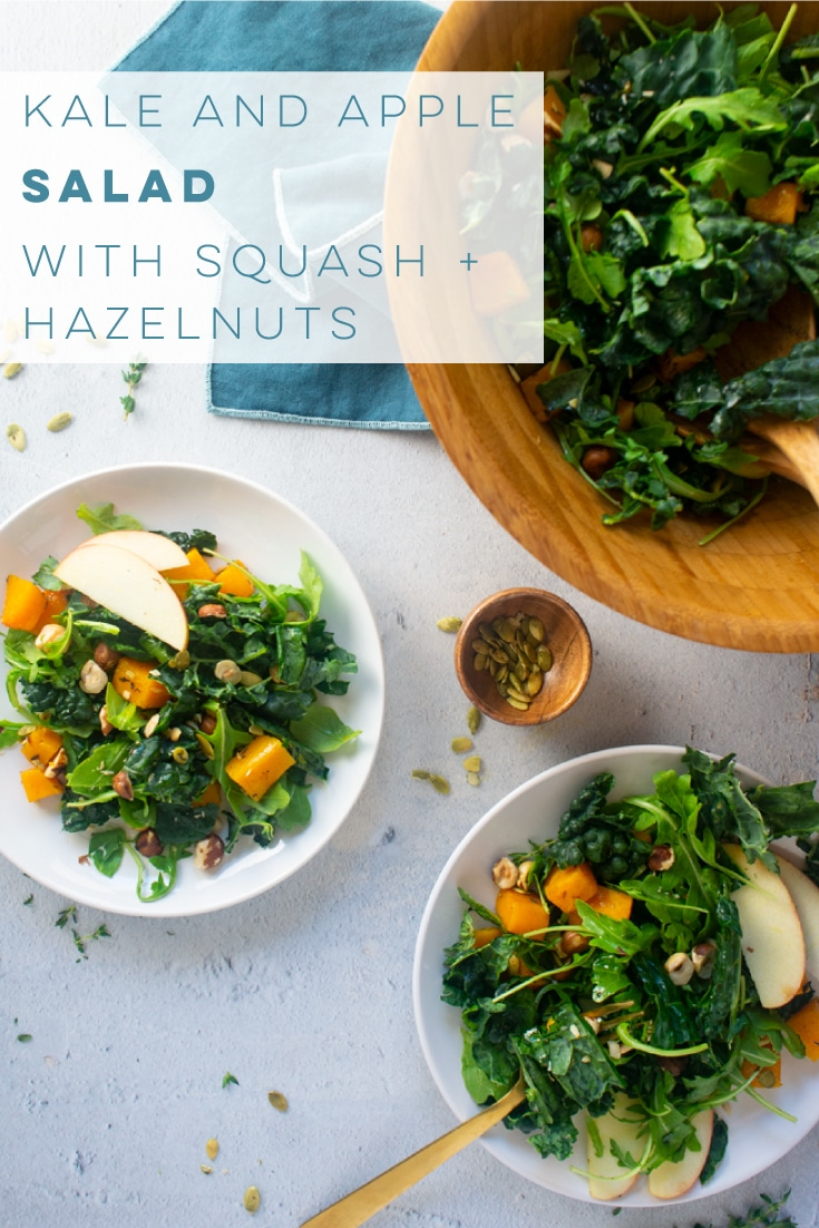 Kale Apple Salad is the PERFECT side dish for Fall! Loaded with delicious ingredients and tossed with a homemade dressing. Keep this salad recipe vegan or add cheddar cheese for a delicious meal. #saladrecipe #fallsalad #kalesalad #veganside #vegansalad #kaleapplesalad | Mindful Avocado