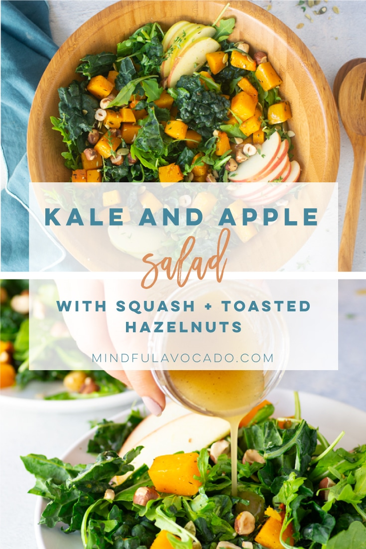 Kale Apple Salad Recipe is the BEST side dish! Perfect for the holidays or a weeknight meal, this salad recipe is healthy and easy to make! #saladrecipe #fallsalad #kalesalad #veganside #vegansalad #kaleapplesalad | Mindful Avocado