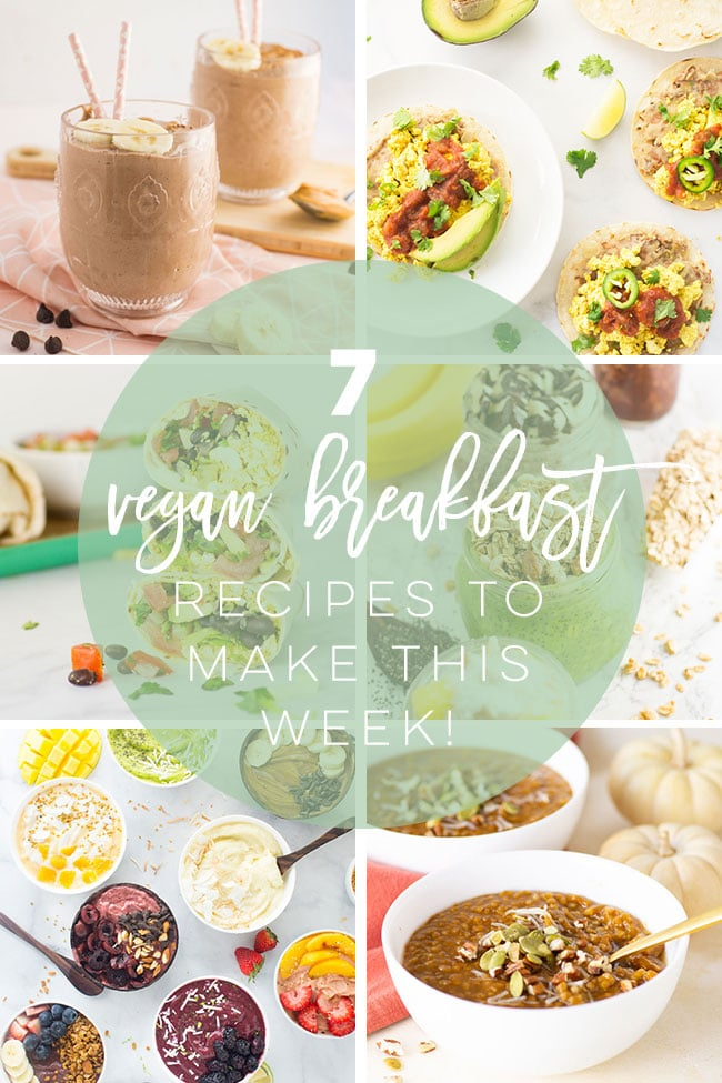 Easy and healthy vegan breakfast recipes! From smoothies, to tofu scramble and overnight oats, this list has an option for everyone to enjoy! #veganbreakfast #easyveganbreakfast #healthyveganbreakfast #proteinveganbreakfast | Mindful Avocado