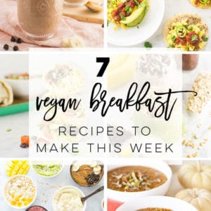 7 Vegan Breakfast Recipes to get you through the week! All these recipes are easy to make and healthy. From sweet and savory options, there's something here for everyone to enjoy! #veganbreakfast #easyveganbreakfast #healthyveganbreakfast #proteinveganbreakfast | Mindful Avocado