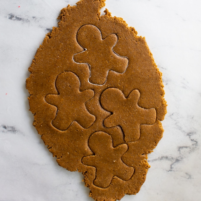 gingerbread men cut out of dough