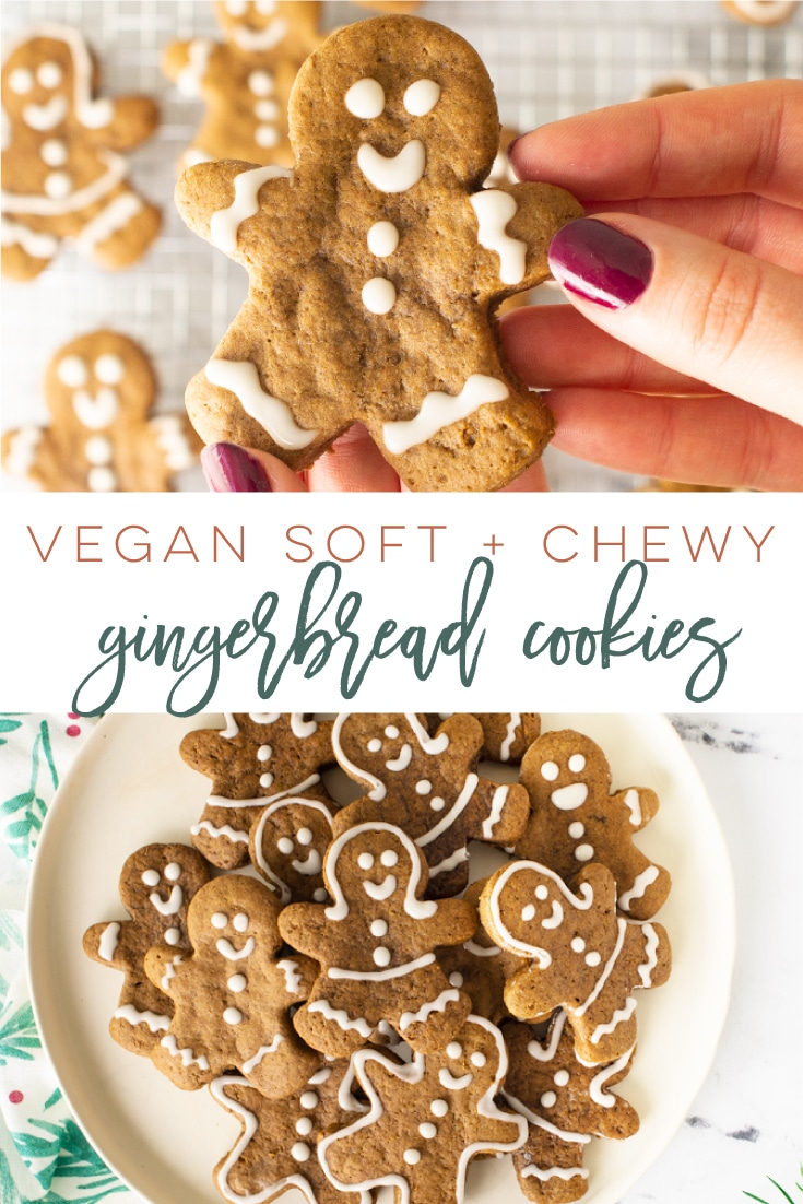 Vegan Gingerbread Cookies -- So easy to make and FULL of warm spice flavor! Perfect for Christmas and so soft and chewy, this cookie recipe is a must try for the holidays! #christmascookies #gingerbreadcookies #gingerbreadmen #vegancookies   Mindful Avocado