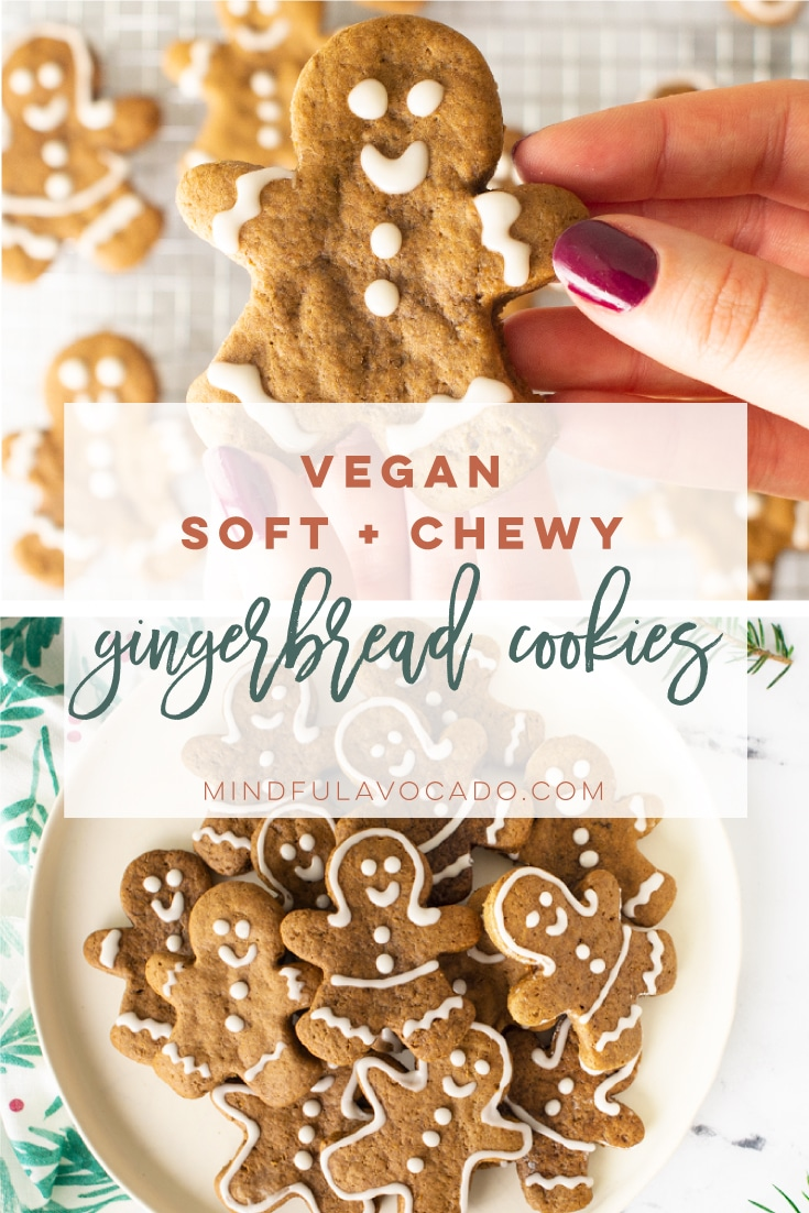Vegan gingerbread cookies are easy to make and healthy! Only requires simple ingredients and they are so soft and chewy! Perfect fir Christmastime. #christmascookies #gingerbreadcookies #gingerbreadmen #vegancookies   Mindful Avocado