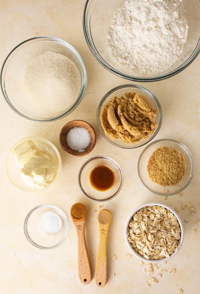 ingredients for vegan oatmeal cookies