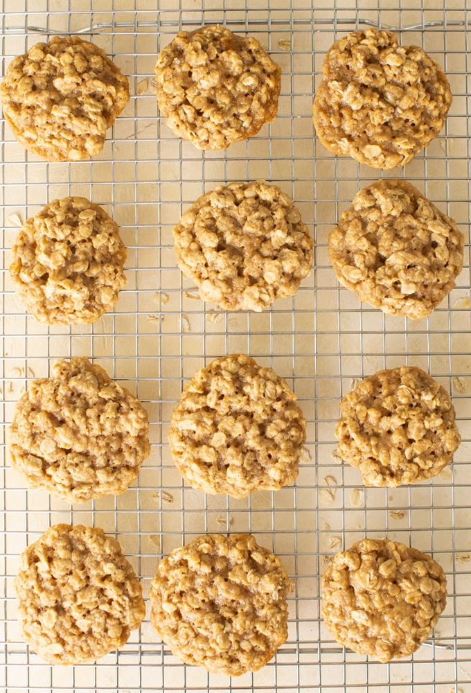 12 vegan oatmeal cookies on a cooling rack