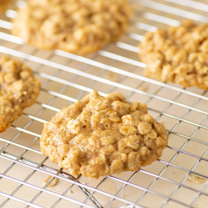vegan oatmeal cookie on cooling rack