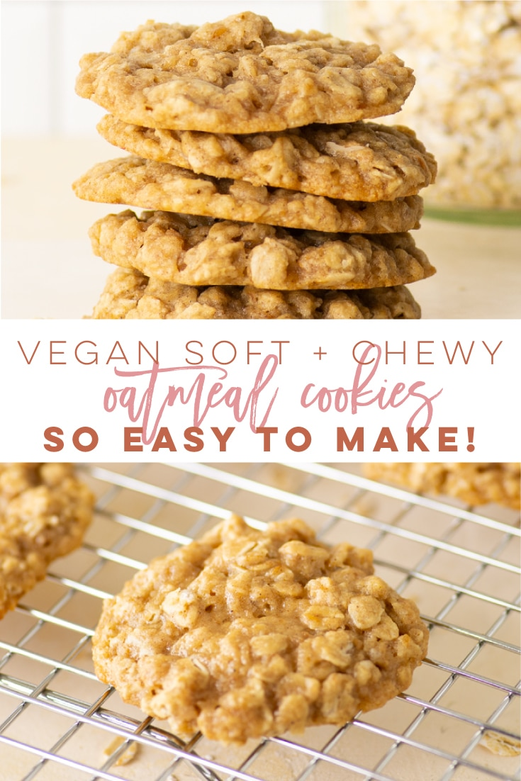Vegan Oatmeal Cookies -- So soft and chewy and easy to make, this cookie recipe is a must-try! Rolled oats combined with brown sugar, cinnamon, and nutmeg are so delicious and a real crowd-pleaser. #veganoatmealcookies #oatmealcookies #vegancookies | Mindful Avocado
