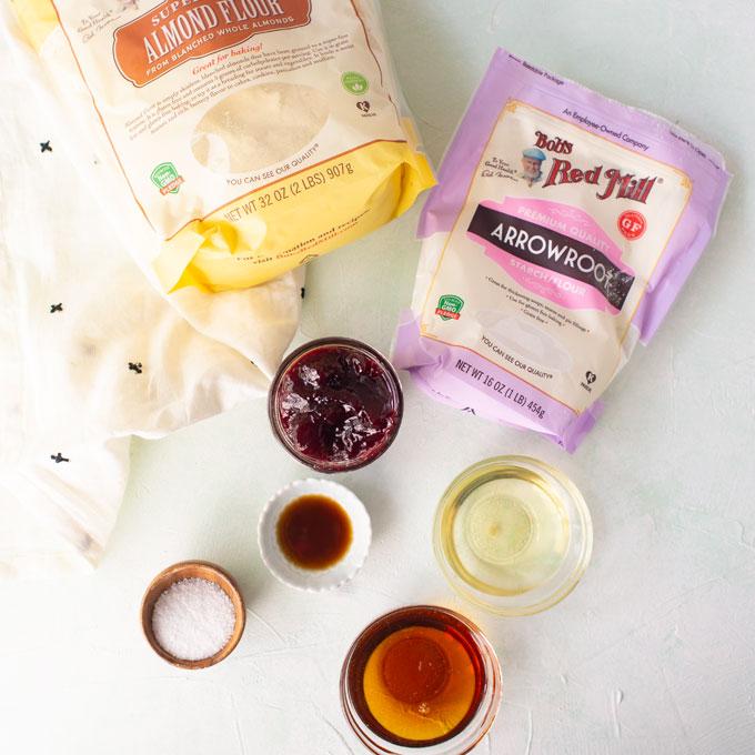 ingredients for vegan and gluten-free thumbprint cookies