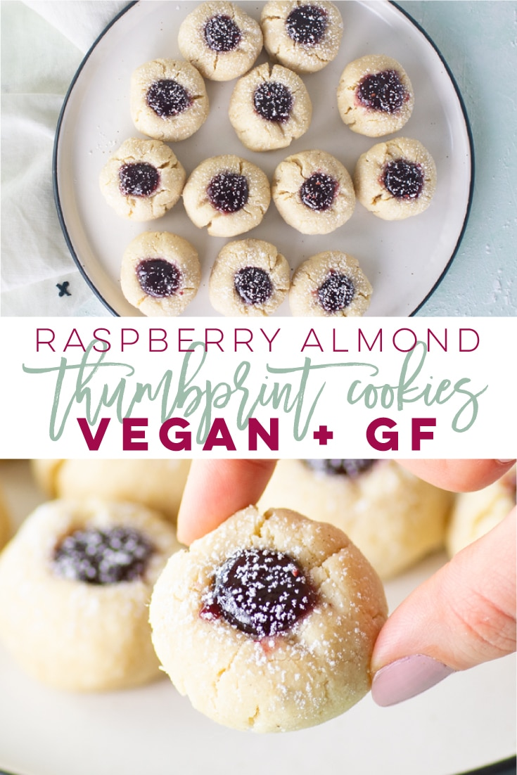 Vegan Thumbprint Cookies -- This thumbprint cookie recipe is vegan, gluten-free, and so easy to make! Almond flour is used as the base to bring this cookie together. Filled with raspberry jam, this delicious cookie is a must try! #vegancookies #gfcookies #glutenfreecookie #thumbprints | Mindful Avocado