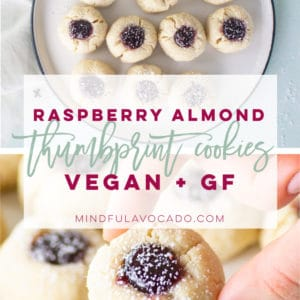 Vegan Thumbprint Cookies are so EASY to make and only require 8 ingredients! Completely gluten-free and refined sugar-free, this cookie recipe is perfect! #vegancookies #gfcookies #glutenfreecookie #thumbprints | Mindful Avocado