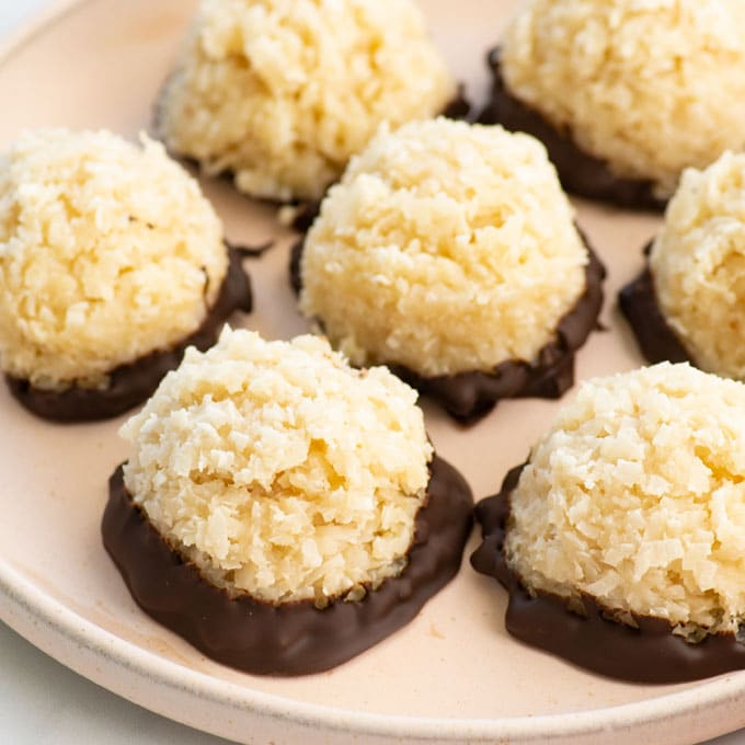 coconut macaroons on pink plate