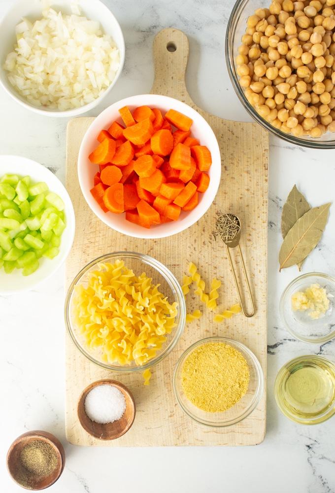 ingredients for vegan chicken noodle soup