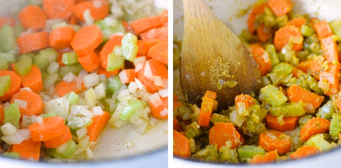 sauteed veggies in pot for vegan chicken noodle soup