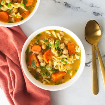 Vegan Chicken Noodle Soup {with Chickpeas!} + VIDEO