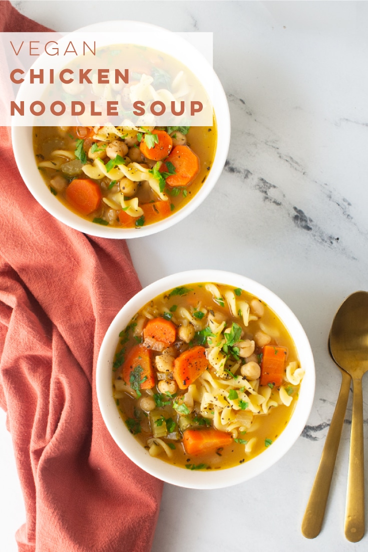 Vegan Chicken Noodle Soup with chickpeas is the BEST comfort meal! Chickpeas, veggies, and pasta come together to form this comforting soup that is perfect for colder weather. #vegansoup #veganchickennoodlesoup #chickpeanoodlesoup #vegandinner | Mindful Avocado