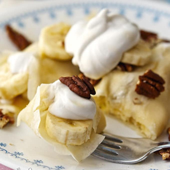 banana coconut cream crepes