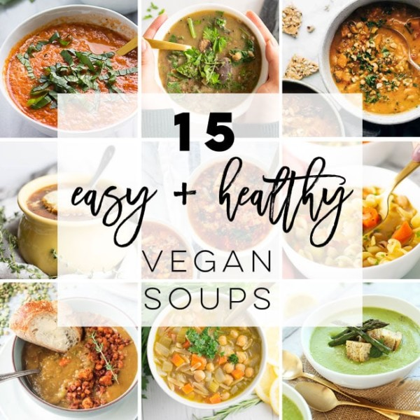 Vegan Soup Recipes -- This collection of vegan soups is the PERFECT solution to your dinner woes. From stews, ramens, chowders, and everything in between, you'll discover easy and healthy soup recipes. #vegansoup #vegetariansoup #healthysoup #vegansouprecipes   Mindful Avocado