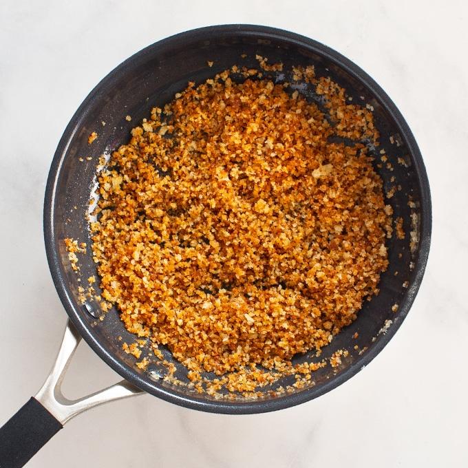 toasted panko breadcrumbs in pan