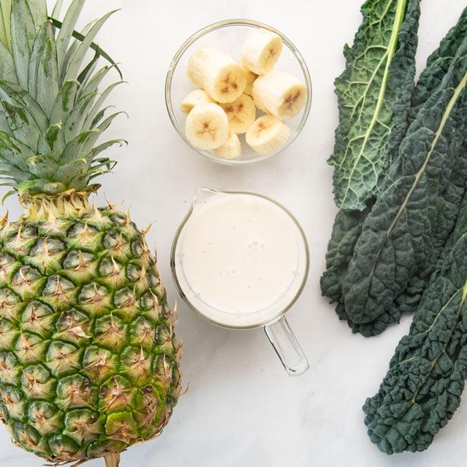 ingredients for vegan pineapple kale smoothie
