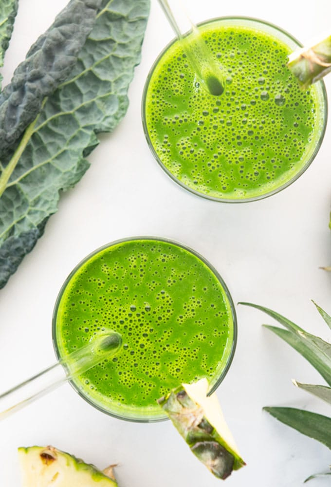 overhead shot of pineapple kale smoothie