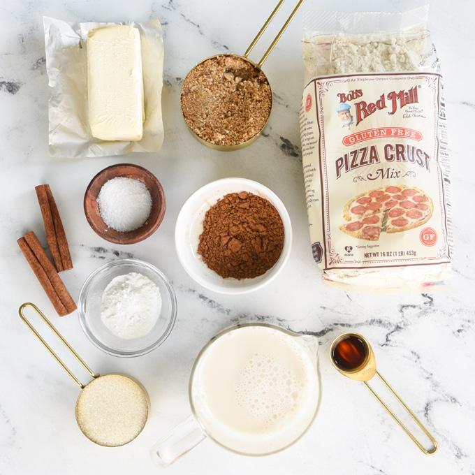 ingredients for gluten free and vegan cinnamon rolls