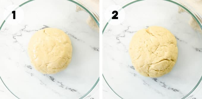 cinnamon roll dough in bowl before and after rising