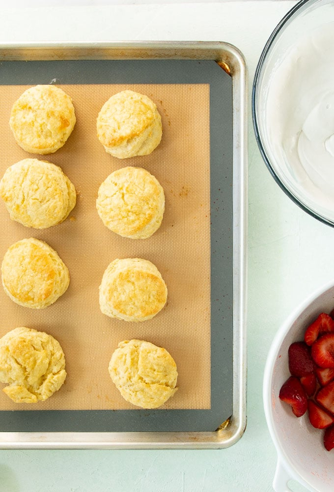 homemade biscuits on baking sheet