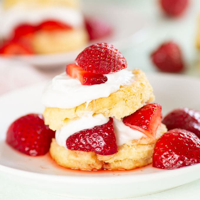 closeup of vegan strawberry shortcake with fresh strawberries on top