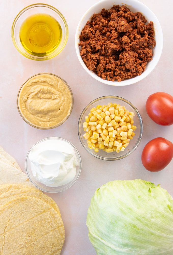ingredients for vegan crunchwrap supreme