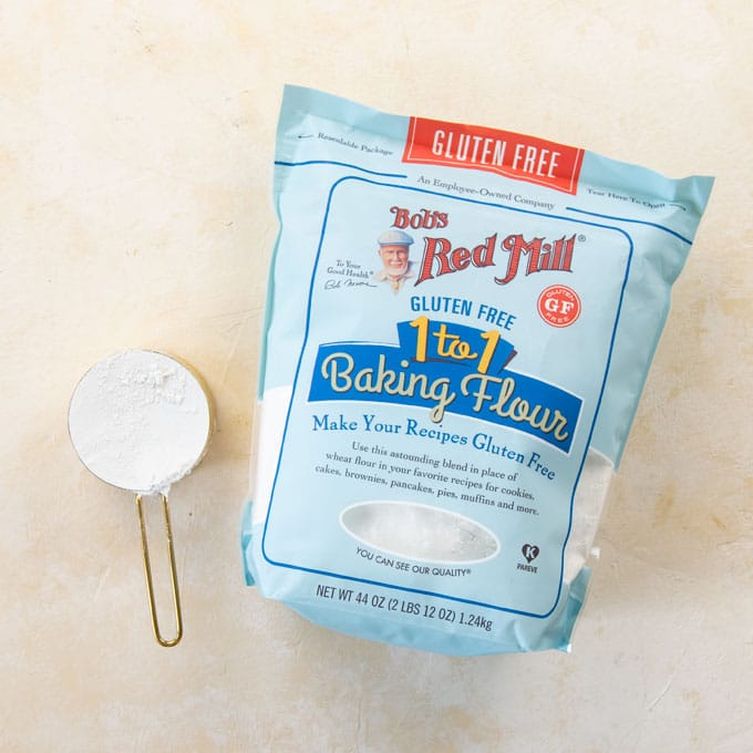 bob's gluten-free flour bag on cream background