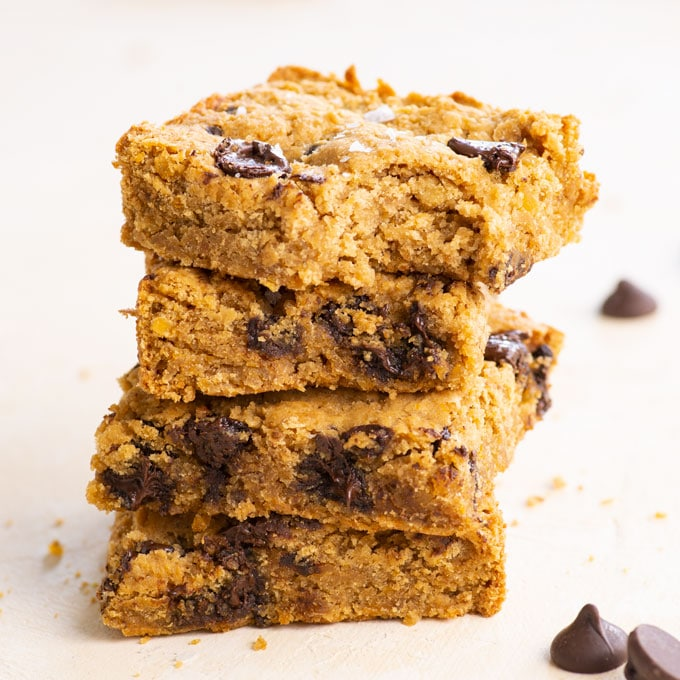 stack of vegan and gluten-free chickpea blondies
