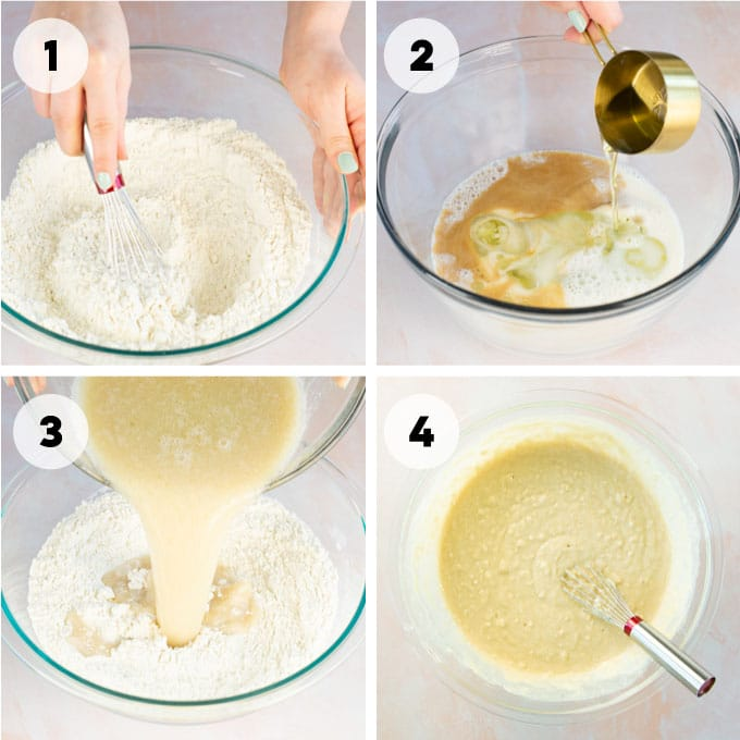 mixing ingredients for cupcakes in mixing bowl