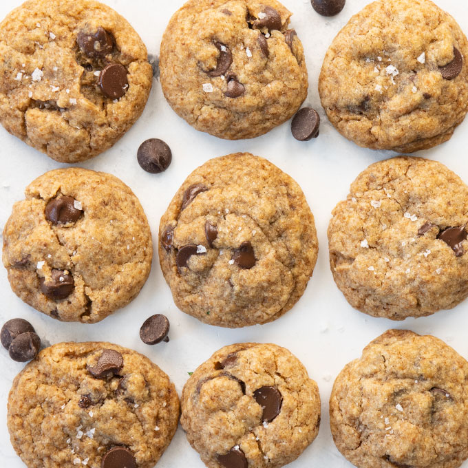 overhead shot of chocolate chip cookies topped with salt