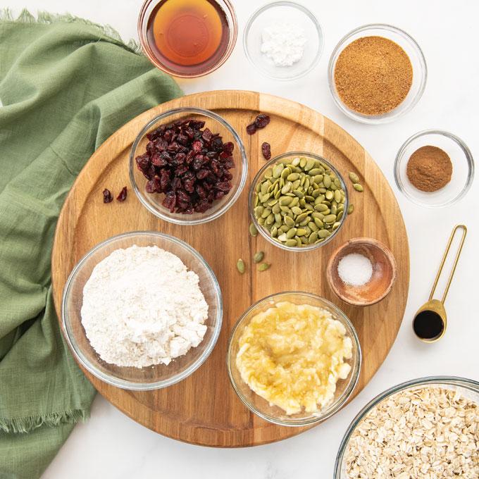 ingredients for breakfast cookies on wood board
