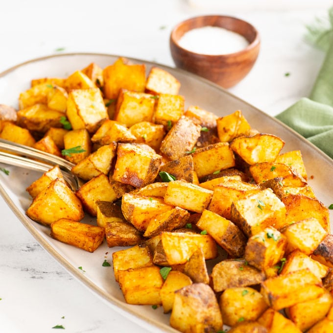 roasted breakfast potatoes on a platter