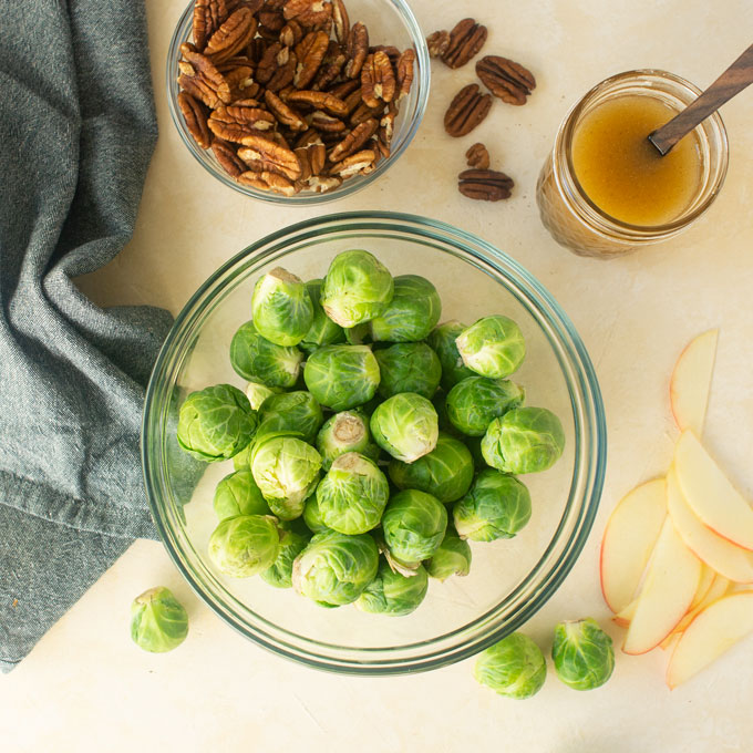 brussels sprouts, apples, pecans, vegan vinaigrette