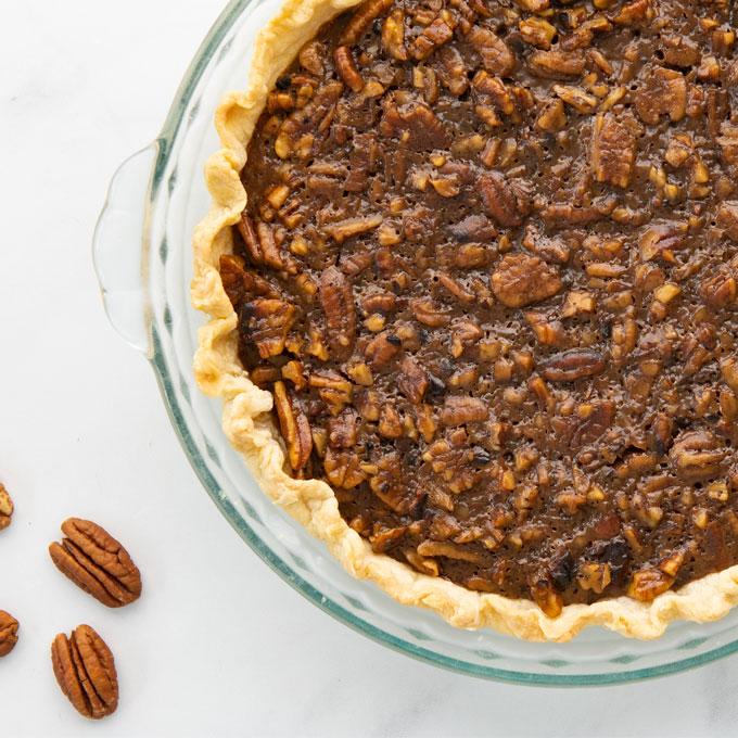 vegan pecan pie with vegan pie crust