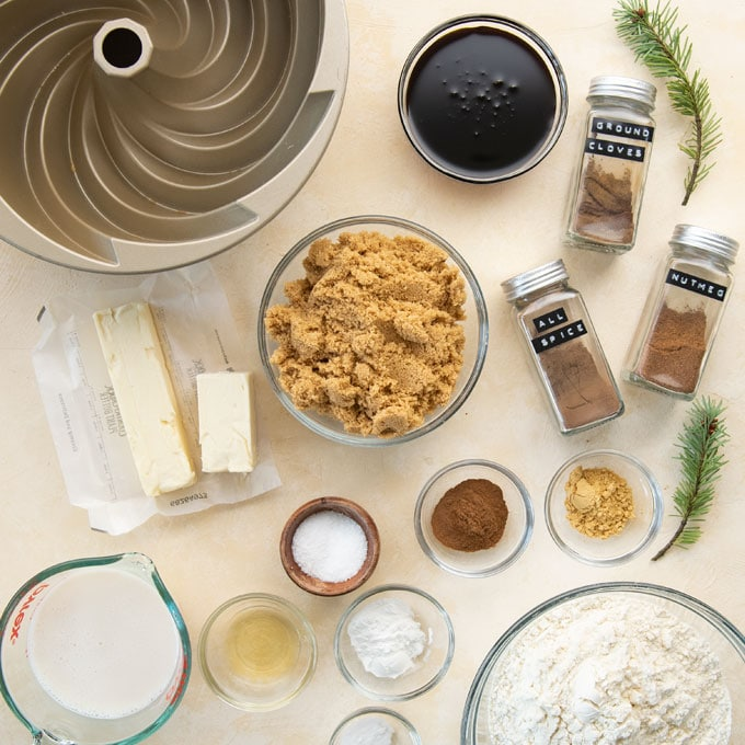 ingredients for vegan gingerbread bundt cake