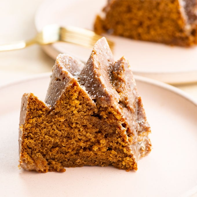 close up of a slice of gingerbread cake on a pink plate