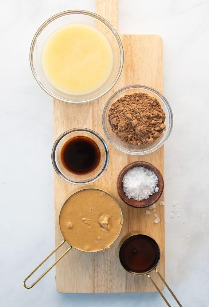 dairy-free butter, cocoa powder, vanilla, cashew butter, salt