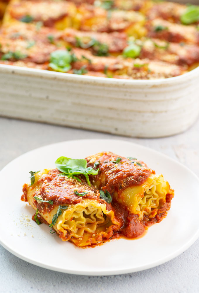 vegan lasagna roll ups with basil