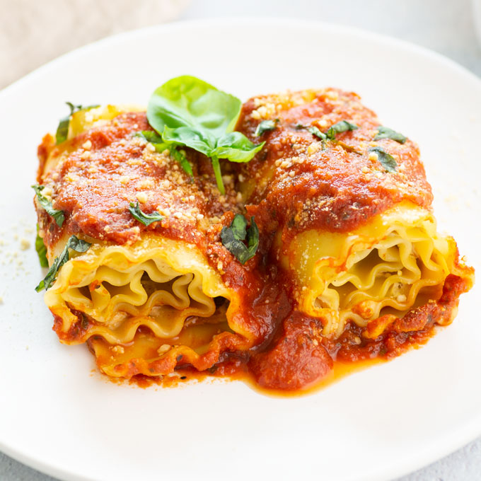 plate of dairy-free vegetarian lasagna roll-ups