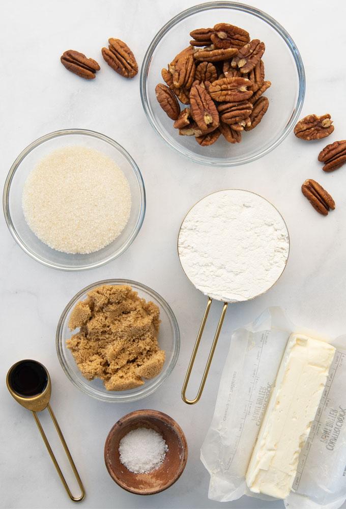 pecans, butter, sugar, vanilla, flour