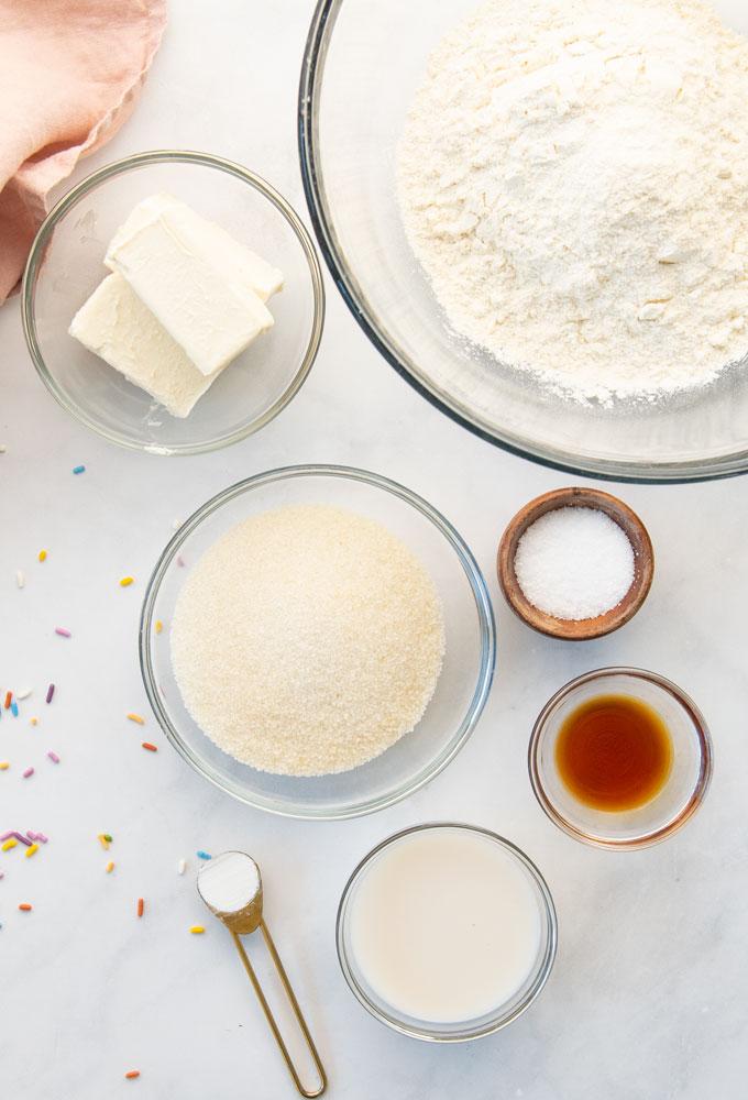 plant based butter, flour, sugar, salt, vanilla
