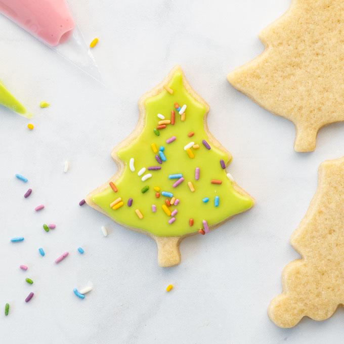 vegan sugar cookies with royal icing and sprinkles