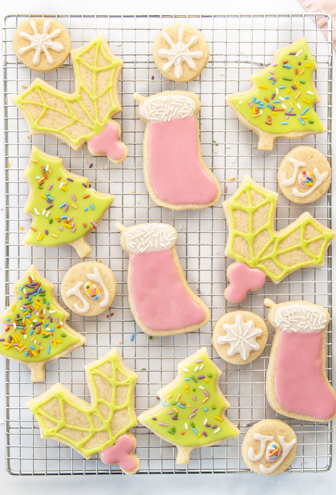 christmas trees, stockings, holly, and snowflake cookies