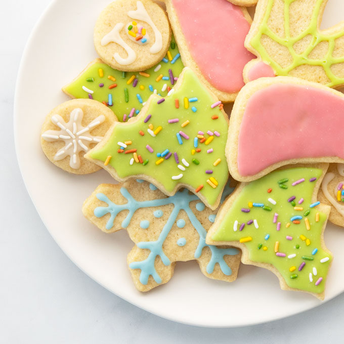 plate of vegan decorated christmas cookies