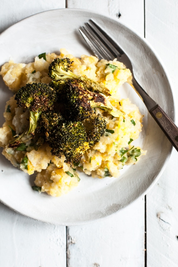 broccoli with mashed root vegetables