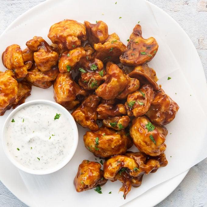 bbq cauliflower wings with vegan ranch